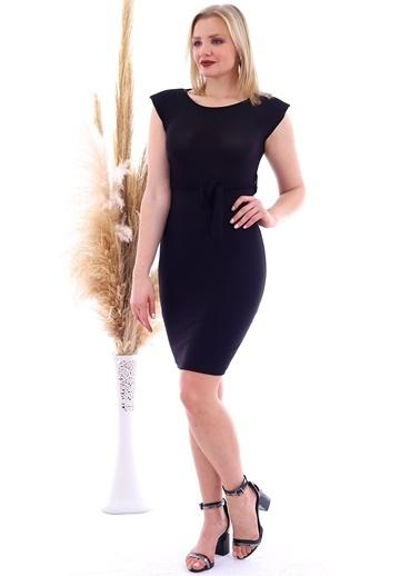 Cottonmood 20070783 Örme Krep Beli Kuşaklı Omuzu Vatkalı Elbise Vizon Yilan Siyah